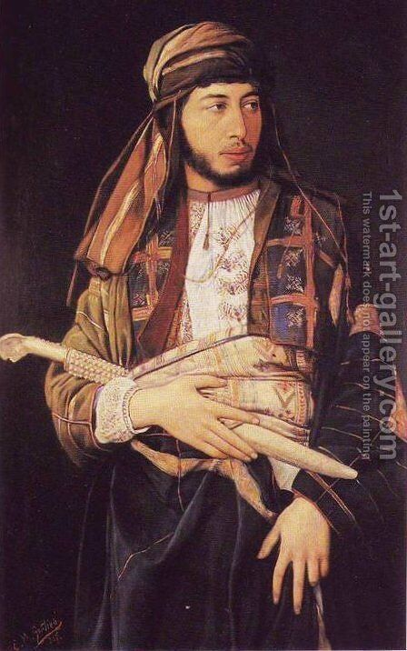 Self-Portrait in Arab Dress by Maurycy Gottlieb - Reproduction Oil Painting