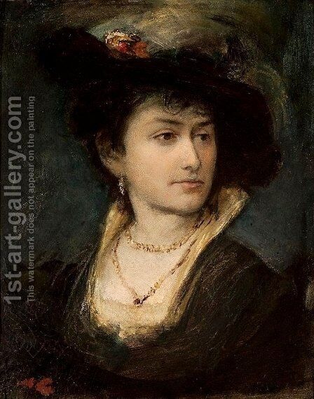 Portrait of Artist's Sister Anna by Maurycy Gottlieb - Reproduction Oil Painting