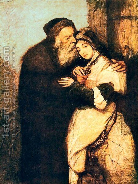 Shylock and Jessica by Maurycy Gottlieb - Reproduction Oil Painting