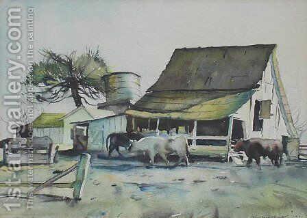 Dairy Farm by Millard Sheets - Reproduction Oil Painting