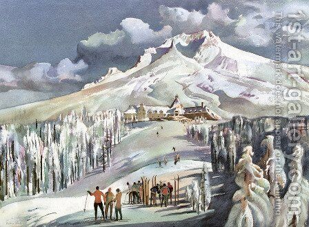 Mt. Hood and Timberline Lodge, Oregon by Millard Sheets - Reproduction Oil Painting