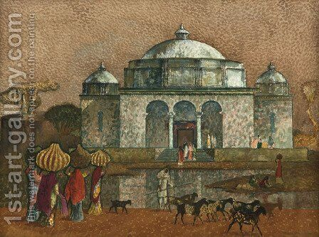 Twelfth Century Mosque, India by Millard Sheets - Reproduction Oil Painting