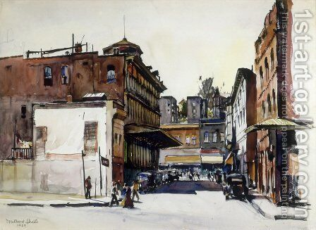 Spring Street, Los Angeles, 1929 by Millard Sheets - Reproduction Oil Painting