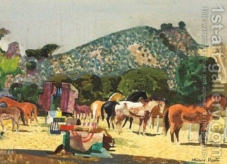 Horse Corral by Millard Sheets - Reproduction Oil Painting