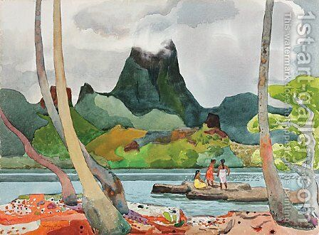 Moua Puta Across Drake Bay by Millard Sheets - Reproduction Oil Painting