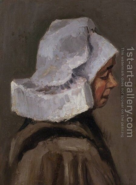 Head of a Peasant Woman with White Cap by Vincent Van Gogh - Reproduction Oil Painting