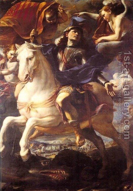 St. George On Horseback 1658 by Mattia Preti - Reproduction Oil Painting