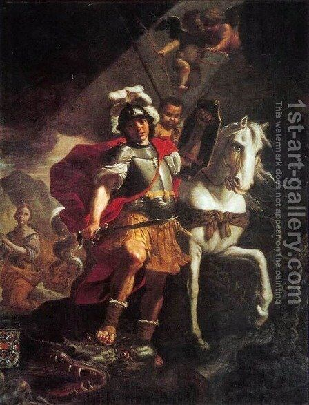 St. George Victorious Over The Dragon 1678 by Mattia Preti - Reproduction Oil Painting