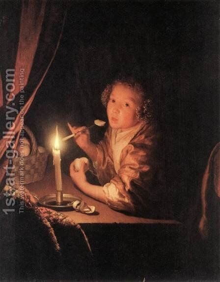 Girl Eating an Apple 1675-80 by Godfried Schalcken - Reproduction Oil Painting