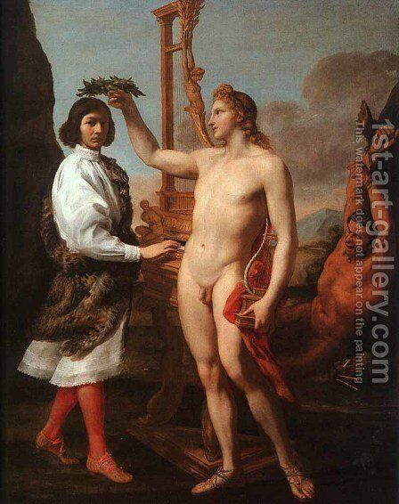 Marcantonio Pasquilini Crowned By Apollo by Andrea Sacchi - Reproduction Oil Painting