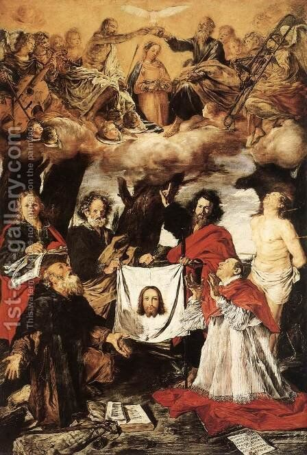 Coronation Of The Virgin With Saints 1625 by Giovanni Serodine - Reproduction Oil Painting