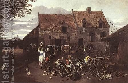 The Market Garden 1664 by Jan Siberechts - Reproduction Oil Painting