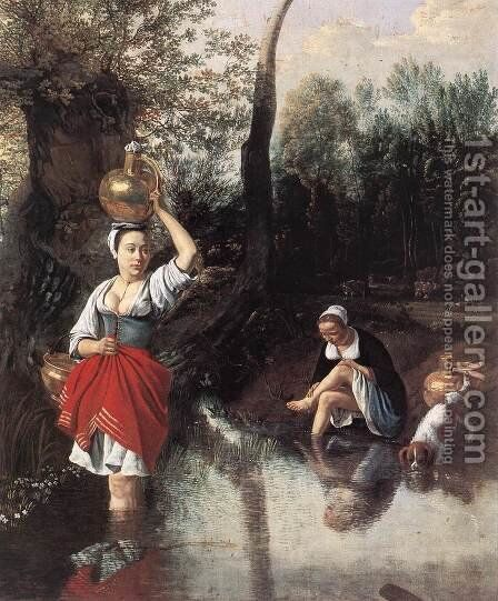 The Wager 1660s by Jan Siberechts - Reproduction Oil Painting