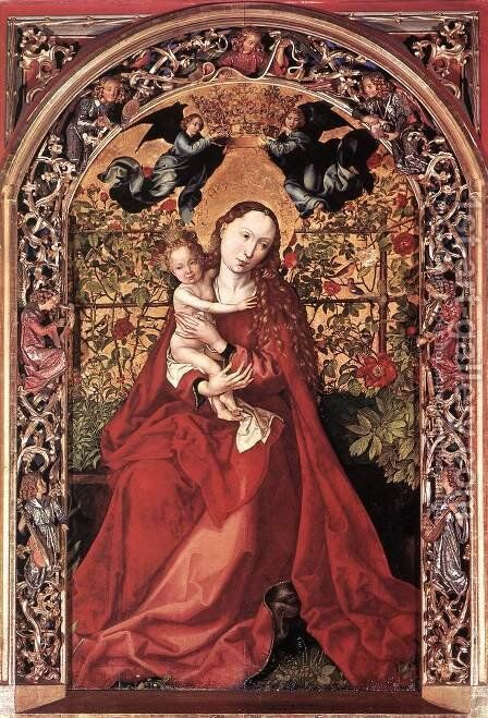 Madonna of the Rose Bush 1473 by Martin Schongauer - Reproduction Oil Painting