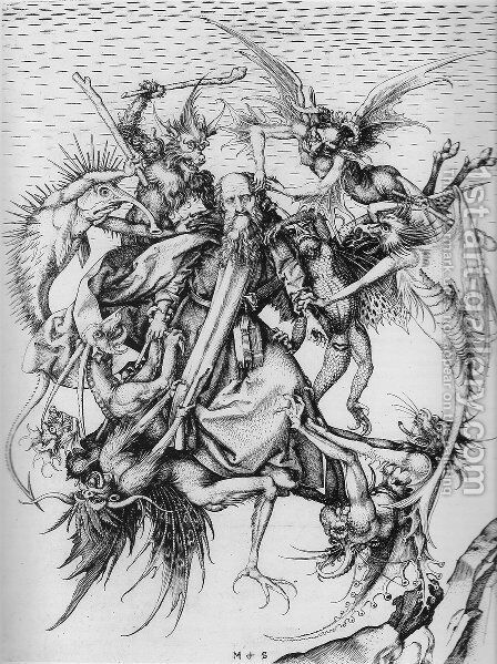 Temptation of St Anthony by Martin Schongauer - Reproduction Oil Painting
