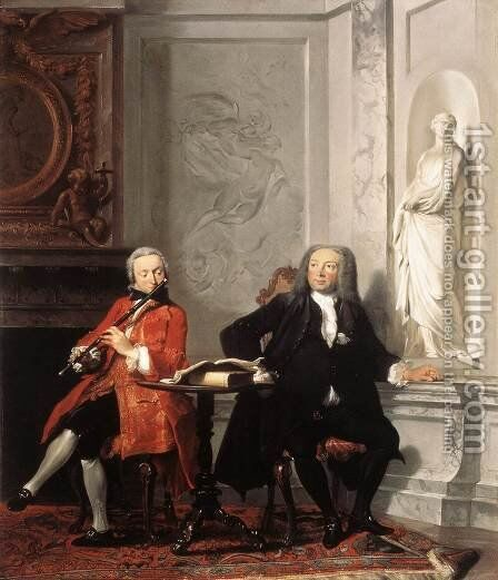Jeronimus Tonneman And His Son 1736 by Cornelis Troost - Reproduction Oil Painting
