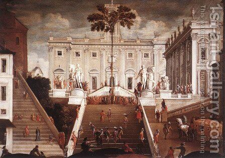 Competition On The Capitoline Hill by Agostino Tassi - Reproduction Oil Painting
