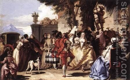 Ball in the Country c. 1756 by Giovanni Domenico Tiepolo - Reproduction Oil Painting