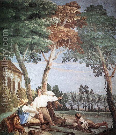 Peasants At Rest 1757 by Giovanni Domenico Tiepolo - Reproduction Oil Painting