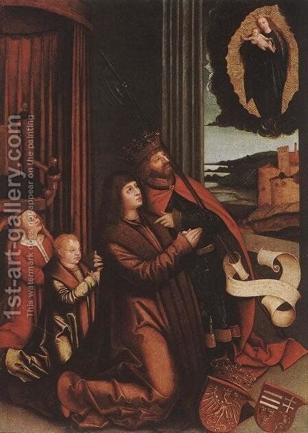 St Ladislas Presents Wladislav II and his Sons to the Virgin (detail) 1511-12 by Bernhard Strigel - Reproduction Oil Painting
