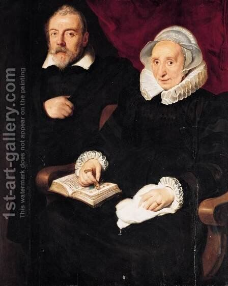 Portrait of Elisabeth Mertens and Her Late Husband c. 1630 by Cornelis De Vos - Reproduction Oil Painting
