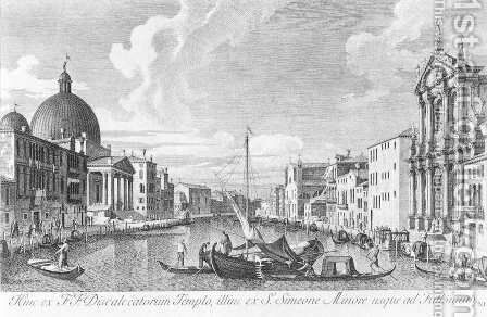 The Canal Grande with San Simeone Piccolo and the Scalzi 1742 by Antonio Visentini - Reproduction Oil Painting