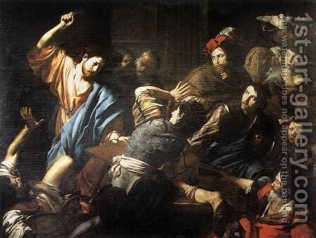 Christ Driving the Money Changers out of the Temple c. 1618 by Jean de Boulogne Valentin - Reproduction Oil Painting