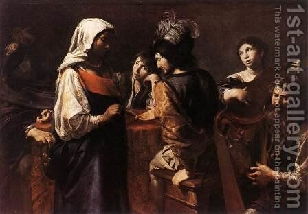 The Fortune Teller c. 1628 by Jean de Boulogne Valentin - Reproduction Oil Painting