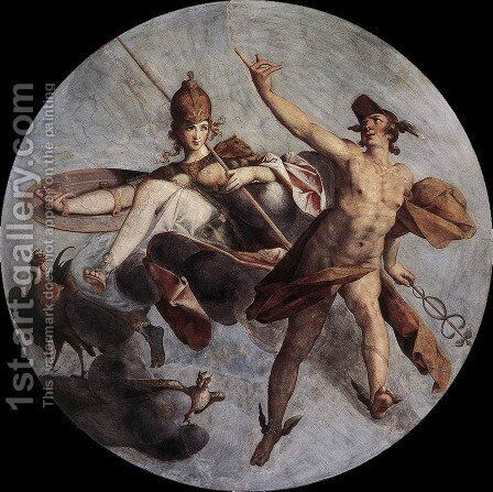 Hermes and Athena c. 1585 by Bartholomaeus Spranger - Reproduction Oil Painting