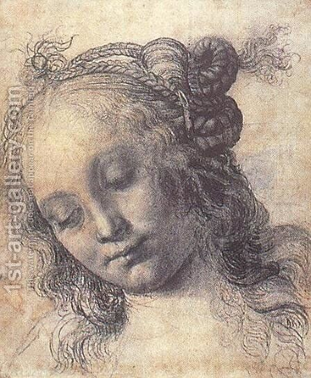 Head Of A Girl (study) by Andrea Del Verrocchio - Reproduction Oil Painting