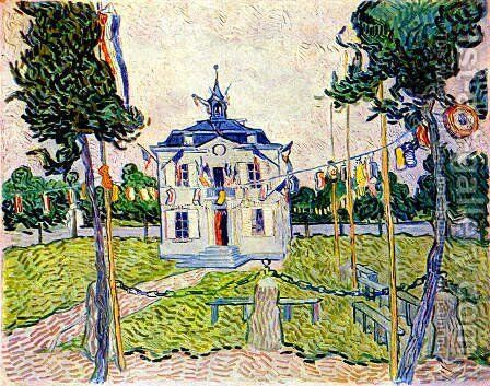 Auvers Town Hall On July 14 1890 by Vincent Van Gogh - Reproduction Oil Painting