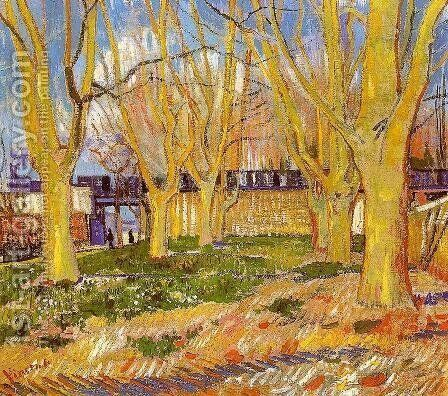 Avenue Of Plane Trees Near Arles Station by Vincent Van Gogh - Reproduction Oil Painting