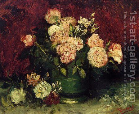 Bowl With Peonies And Roses by Vincent Van Gogh - Reproduction Oil Painting