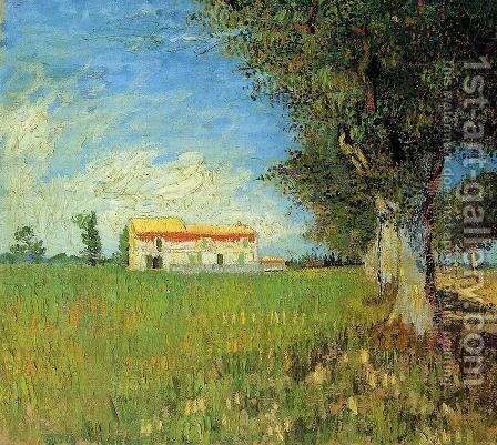 Farmhouse In A Wheat Field by Vincent Van Gogh - Reproduction Oil Painting