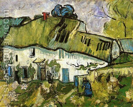 Farmhouse With Two Figures by Vincent Van Gogh - Reproduction Oil Painting