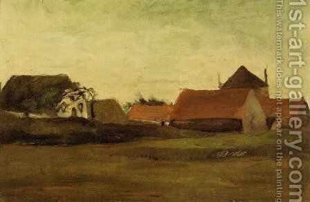 Farmhouses In Loosduinen Near The Hague At Twilight by Vincent Van Gogh - Reproduction Oil Painting