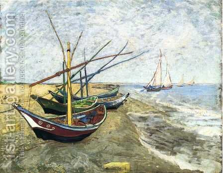 Fishing Boats On The Beach At Saintes Maries by Vincent Van Gogh - Reproduction Oil Painting