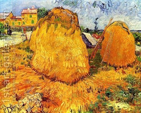 Haystacks In Provence by Vincent Van Gogh - Reproduction Oil Painting