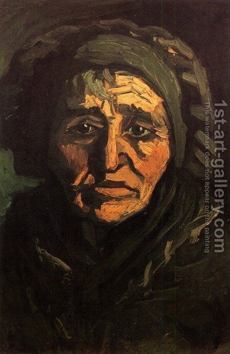 Head Of A Peasant Woman With Greenish Lace Cap by Vincent Van Gogh - Reproduction Oil Painting