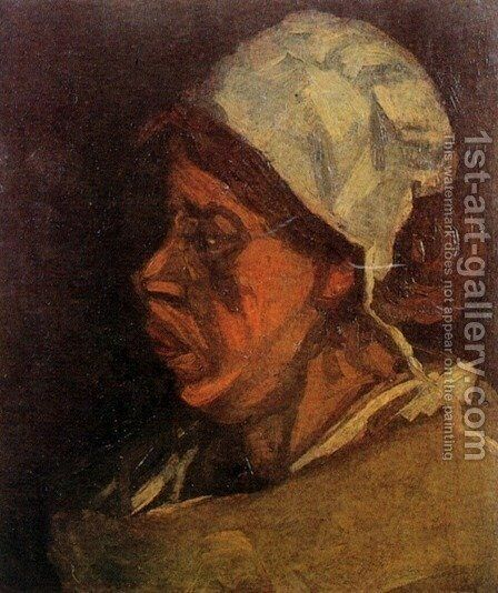 Head Of A Peasant Woman With White Cap VII by Vincent Van Gogh - Reproduction Oil Painting