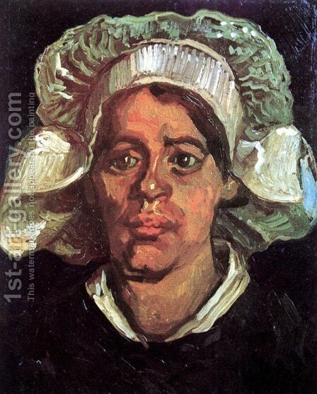 Head Of A Peasant Woman With White Cap IX by Vincent Van Gogh - Reproduction Oil Painting