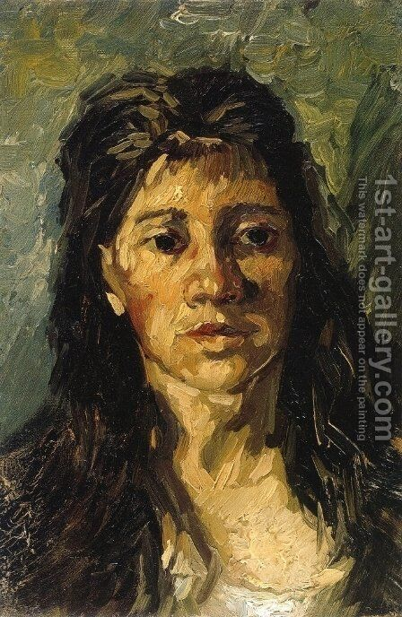 Head Of A Woman With Her Hair Loose by Vincent Van Gogh - Reproduction Oil Painting
