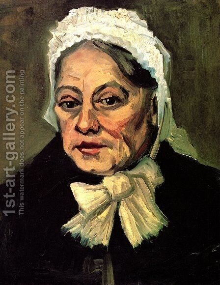 Head Of An Old Woman With White Cap (The Midwife) by Vincent Van Gogh - Reproduction Oil Painting