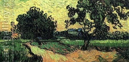 Landscape With The Chateau Of Auvers At Sunset by Vincent Van Gogh - Reproduction Oil Painting