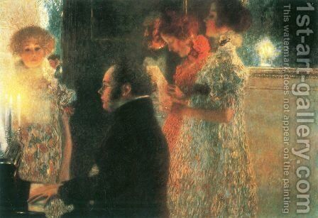 Schubert At The Piano by Gustav Klimt - Reproduction Oil Painting