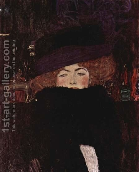 Lady With Hat And Feather Boa by Gustav Klimt - Reproduction Oil Painting