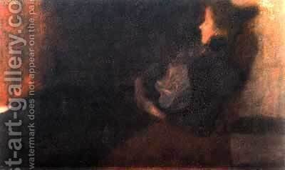 Lady At The Fireplace by Gustav Klimt - Reproduction Oil Painting