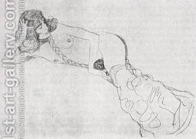 Reclining Woman by Gustav Klimt - Reproduction Oil Painting