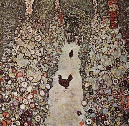 Garden Path With Chicken by Gustav Klimt - Reproduction Oil Painting