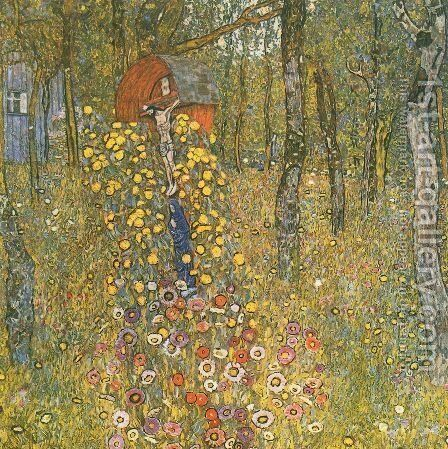 Farm Garden With Crucifix by Gustav Klimt - Reproduction Oil Painting